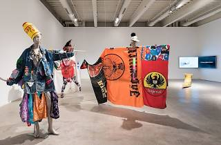 "Costumes by Dusty Shoulders in special exhibit ""Tag: Proposals on Queer Play and the Ways Forward"" at the Institute of Contemporary Art."
