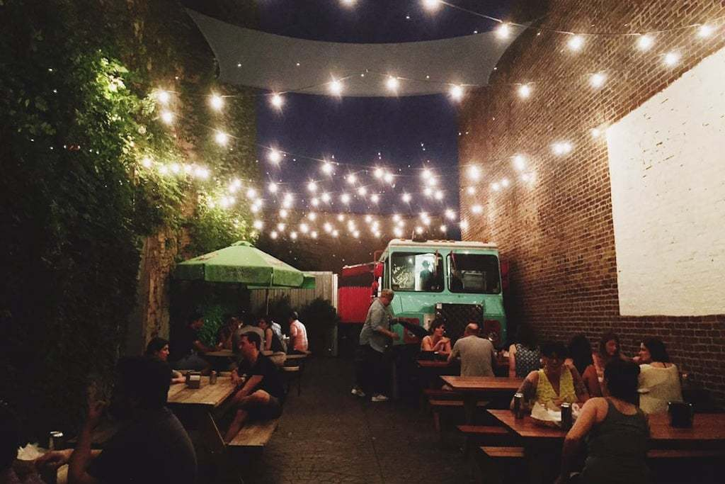 This is the cute beer garden patio behind Memphis Taproom in Kensington