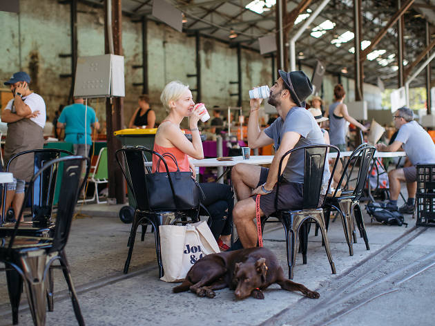 People drinking coffee with dog at Carriageworks Farmers Markets