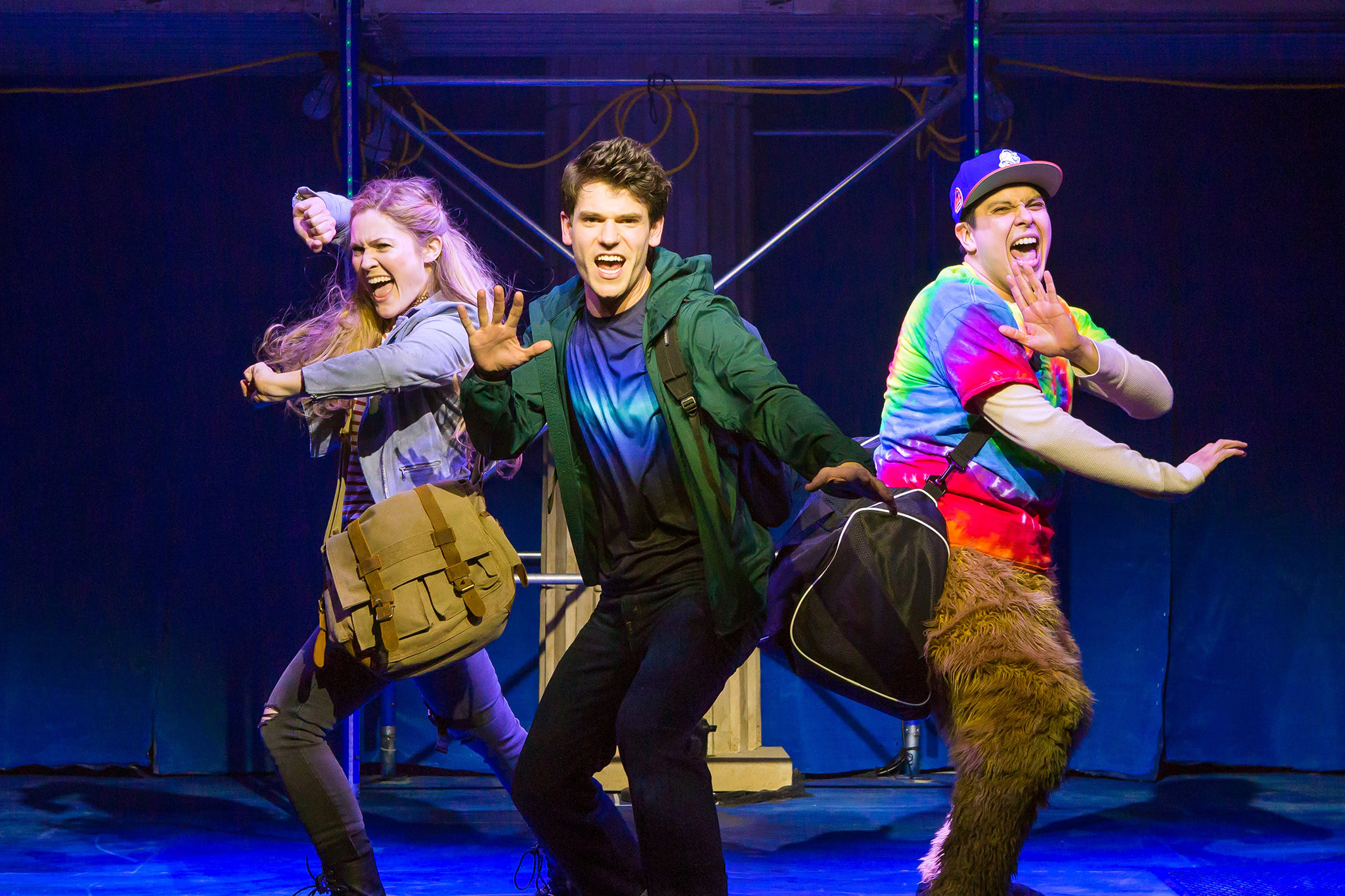 Kristin Stokes, Chris McCarrell and George Salazar in the Off Broadway cast of The Lightning Thief: The Percy Jackson Musical