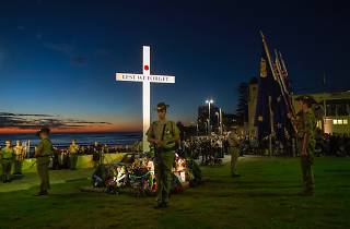 People and service men and women gather at Monro Park Cronulla