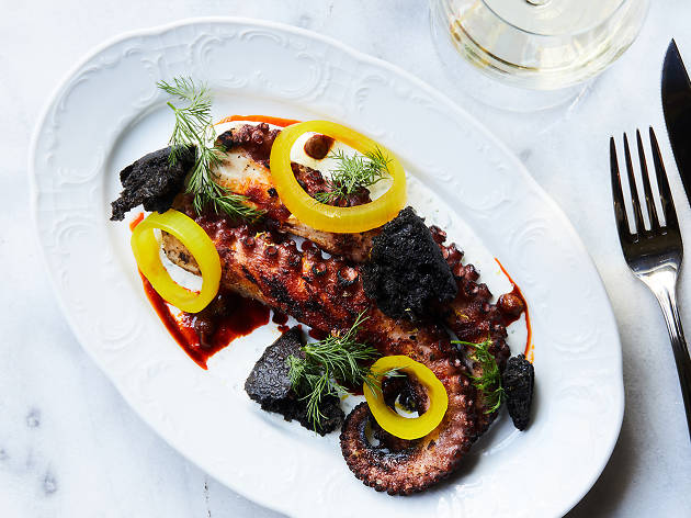 Grilled octopus with herbed yogurt