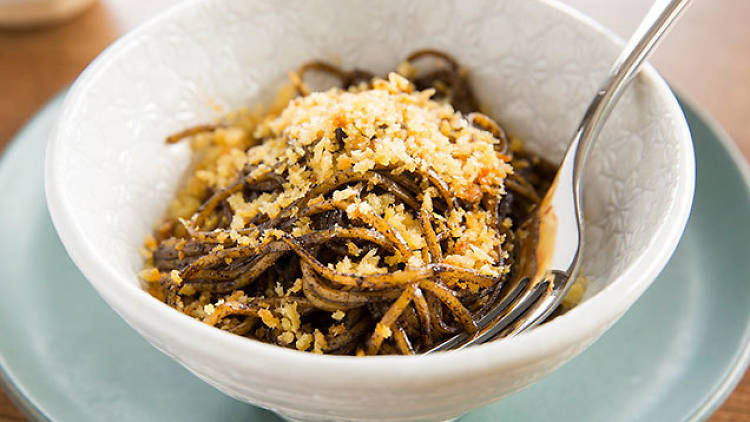 Linguine, black garlic, burnt chilli at Acme