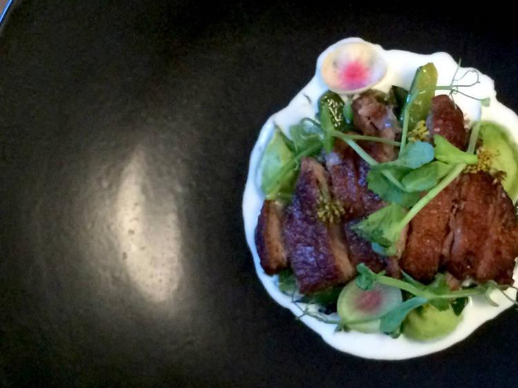 Duck thigh, celery, buttermilk and Davidson plum at Balthazar, $18