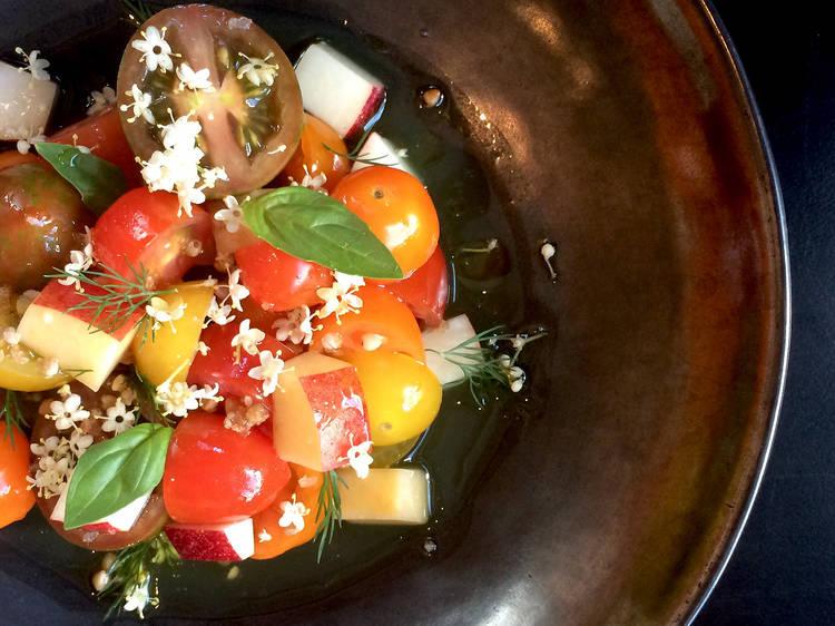 Tomato nectarine, buckwheat, elderflower at the Heritage Wine Bar, $18