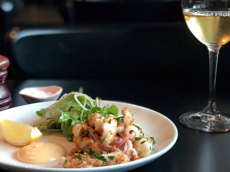 Calamari, pangrattato, brava at Shadow Wine Bar, $15