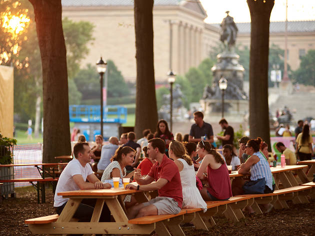 This is the beer garden at the Oval on the Benjamin Franklin Parkway