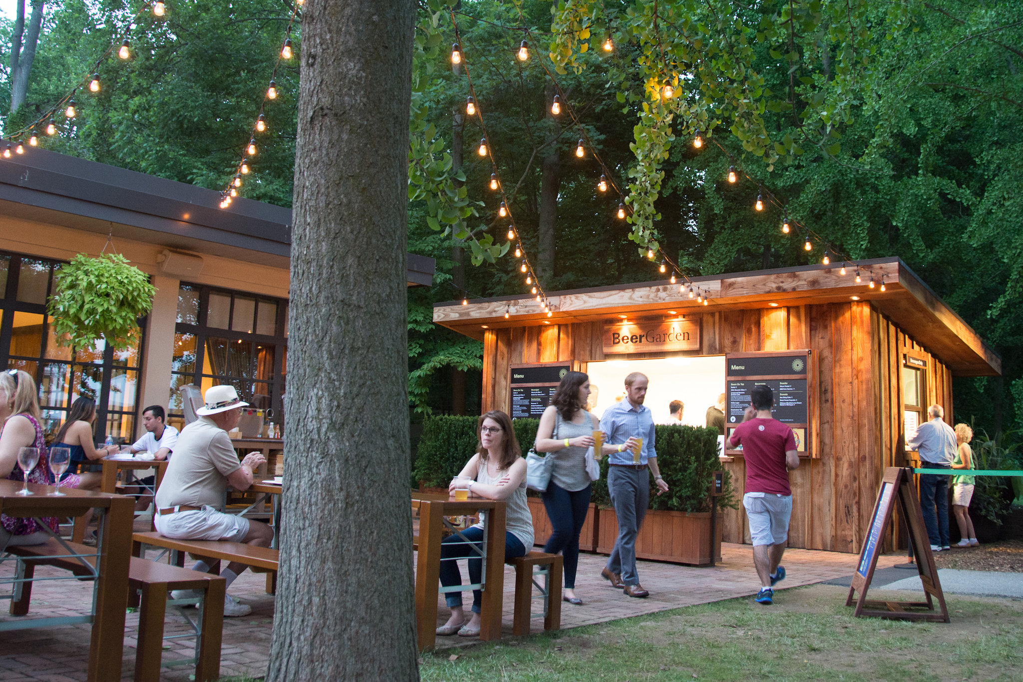 During the summer, you can visit a beer garden on the Longwood Gardens grounds.