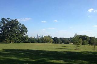 Belmont Plateau in West Fairmount Park offers smashing views of the Philadelphia skyline, and excellent hiking.