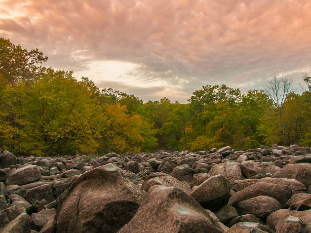 Ringing Rocks Park is a fun spot for hiking near Philadelphia.