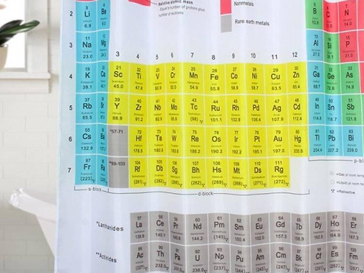 Cortina para el baño tabla periódica
