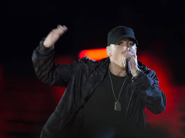 Eminem performs at the Firefly Music Festival.