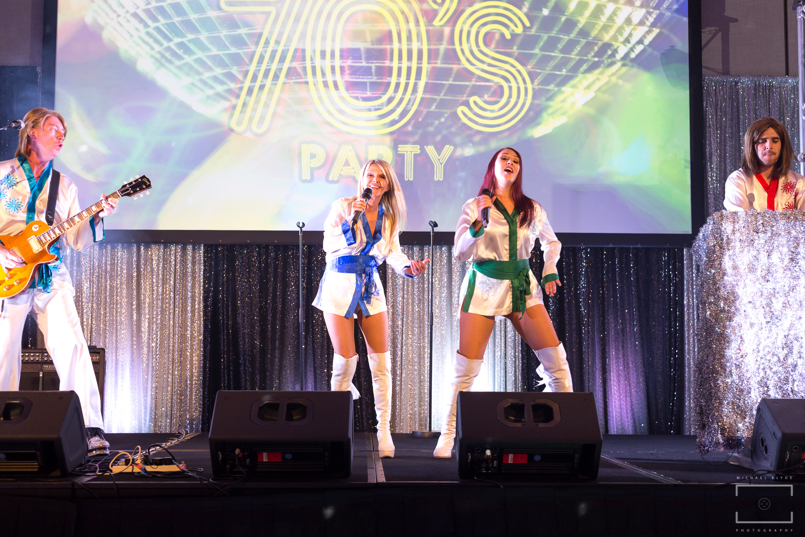 ABBA tribute band play on stage
