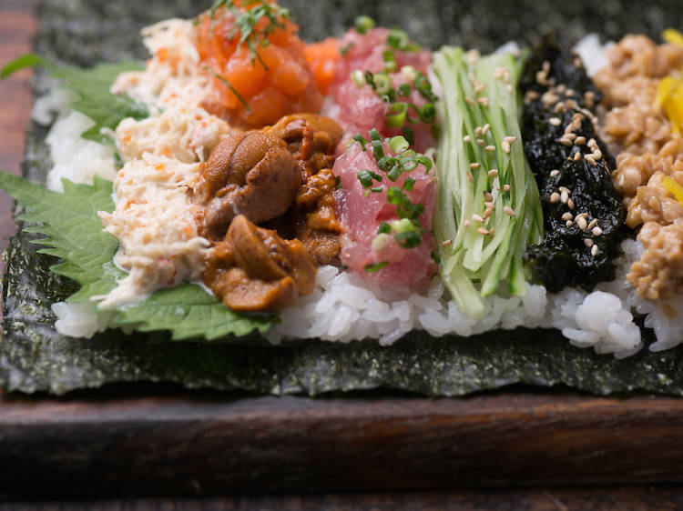 Munch on a sushi hand roll