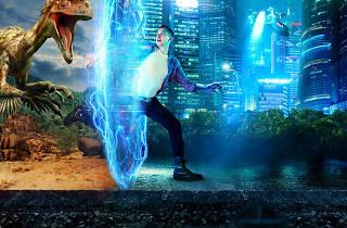 Image of dinosaur chasing man through futuristic world.