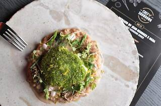 Anthony Burd for Chef Showdown - herb-crusted monkfish on a delicious four-grain risotto with spring herbs and vegetables