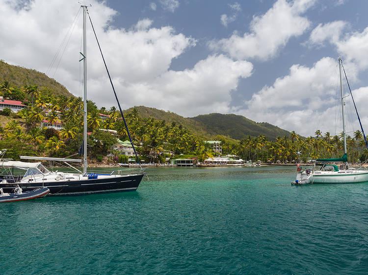 Sail along the scenic coastline