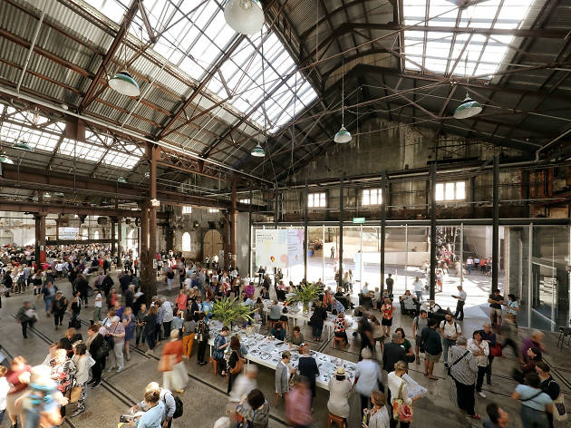 People shopping at Sydney Writers' Festival 2018 Carriageworks