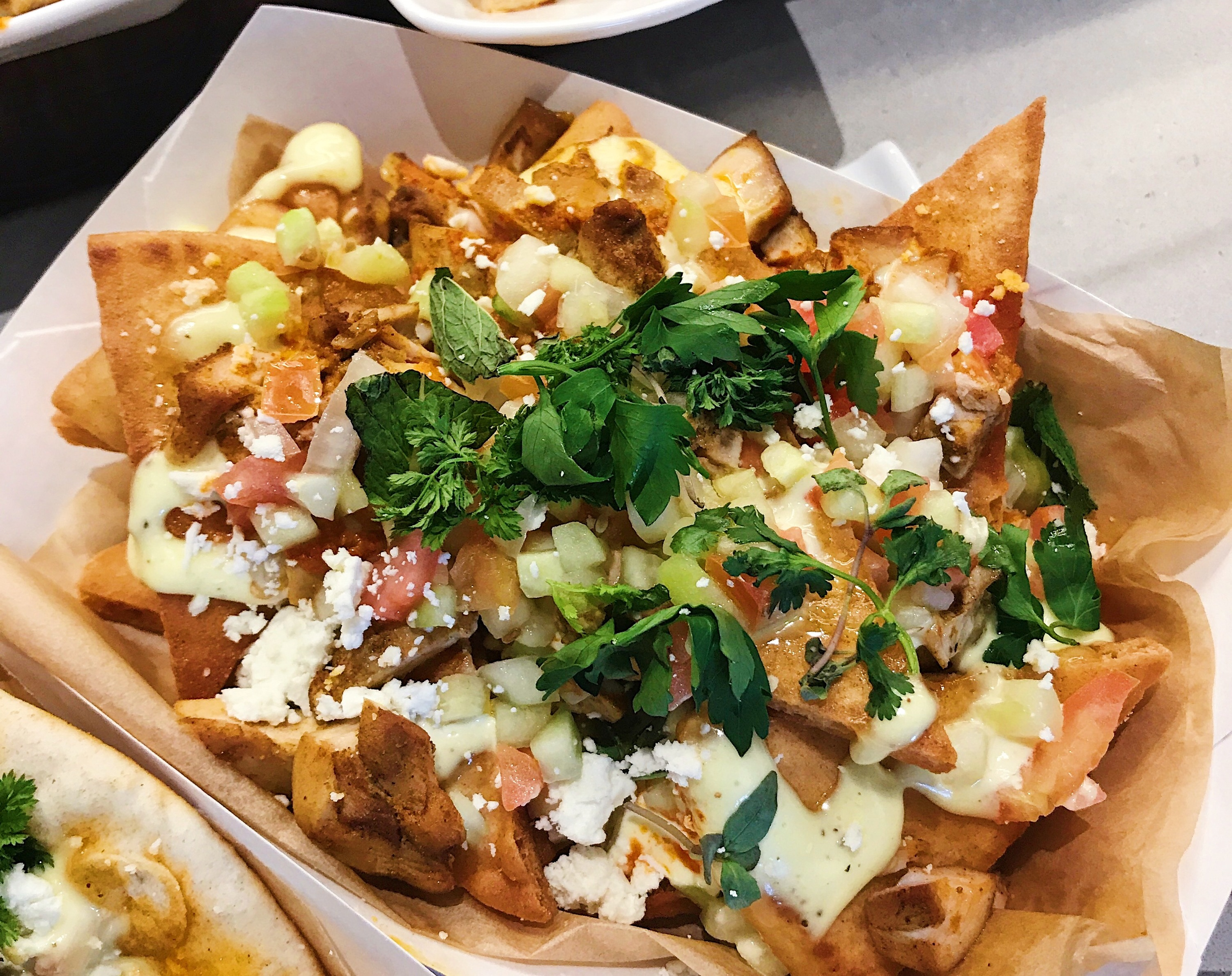 Pita nachos at the Banc of California Stadium