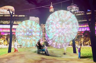 Inclusive playground of light installations at Vivid Sydney.