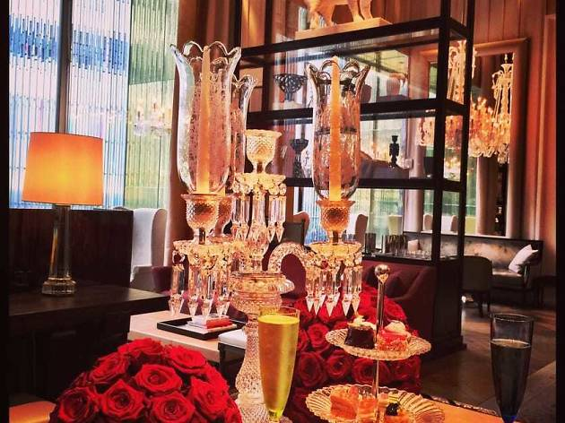 Champagne and tea service at Baccarat