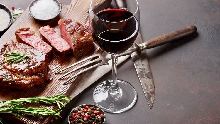 Red wine, red meat