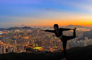Yoga pose sunset