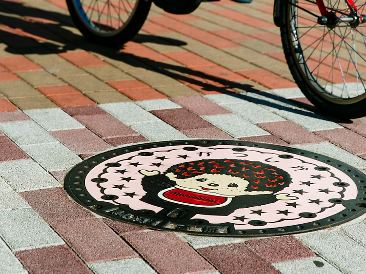 Scan the ground for creative manhole covers