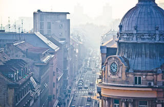 50608980 - busy zagreb street in morning haze with old arcchitecture aerial vie, capital of croatia