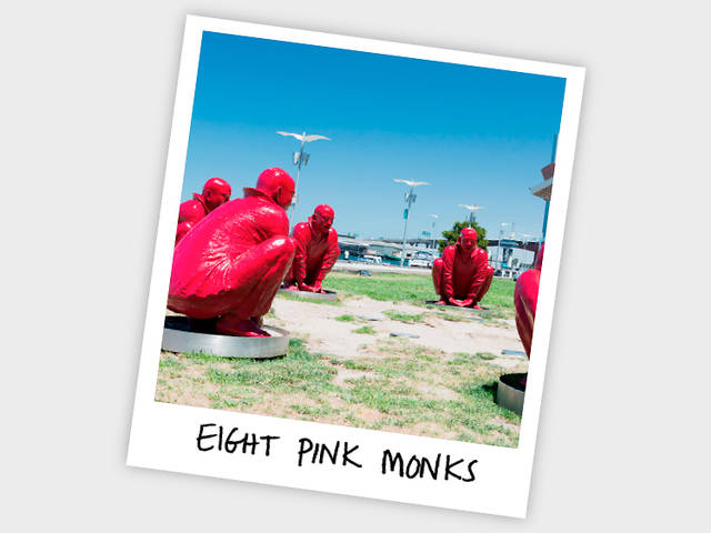 Eight pink monks