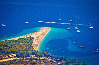 Zlatni rat beach aerial view, Island of Brac