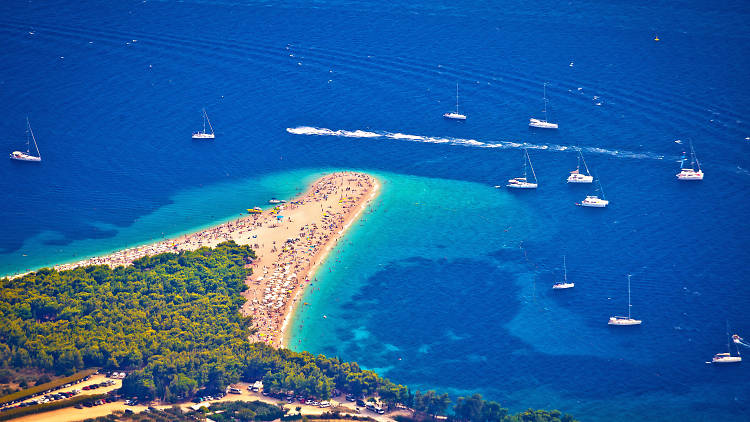 Zlatni rat beach aerial view, Island of Brac