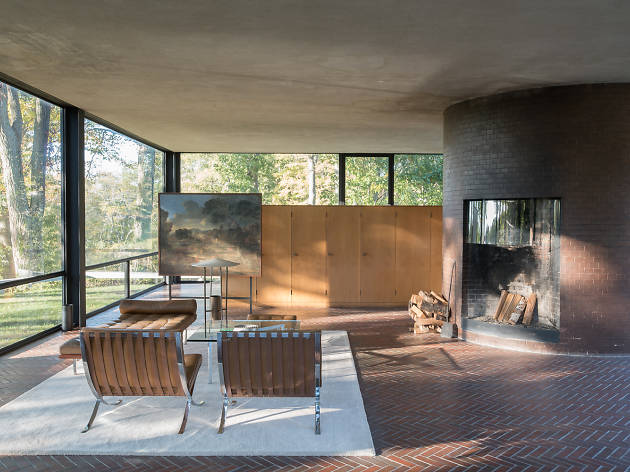 The living space inside the Phillip Johnson Glass House