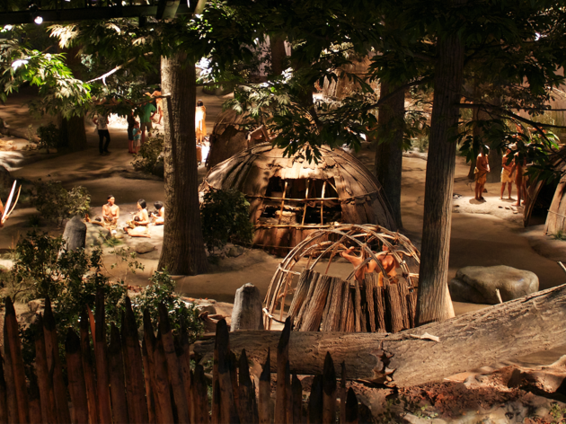 Display model of a village at the Mashantucket Pequot Museum and Research Center