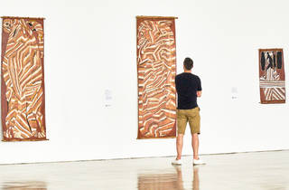 (John Mawurndjul works in Luminous MCA Collection, 2015)
