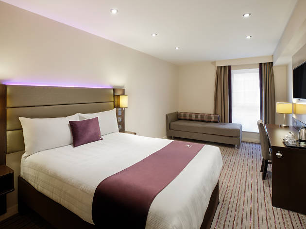 Do not reuse. Premier Inn hotel room and bed, for use with Premier Inn print features hub, winners features.