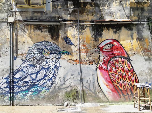 Petaling Street street art - Birds