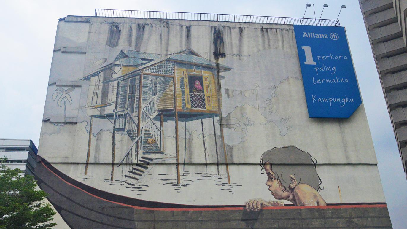 Masjid Jamek street art - The Sampan Boy