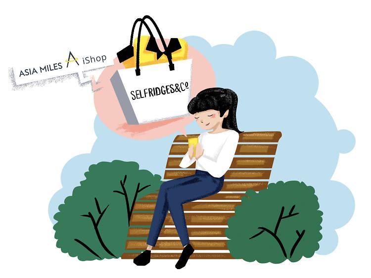 週六早上十一時︰在香港公園透過「亞洲萬里通」iShop網上商戶 Selfridges 添置新衣