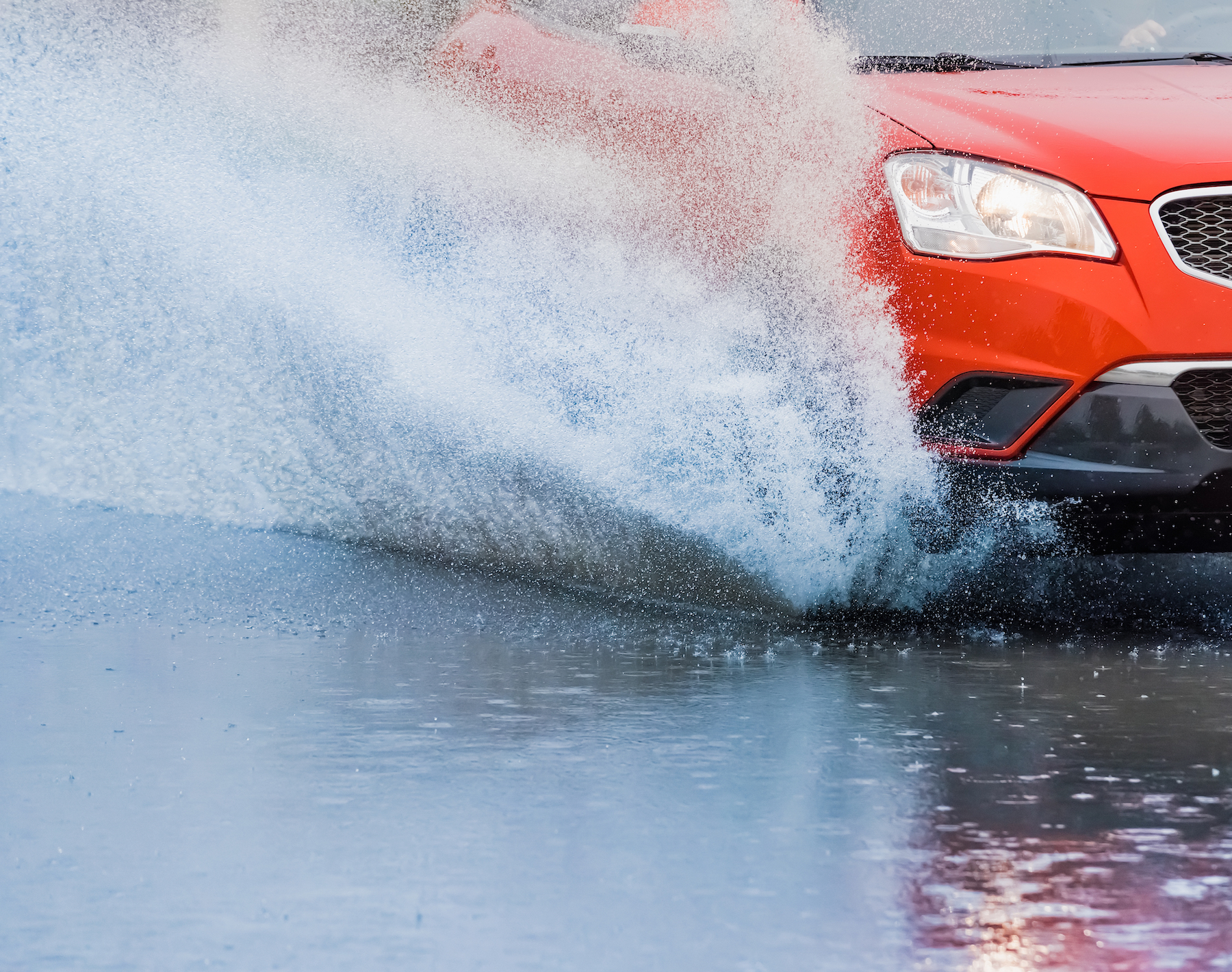 Getting splashed by cars