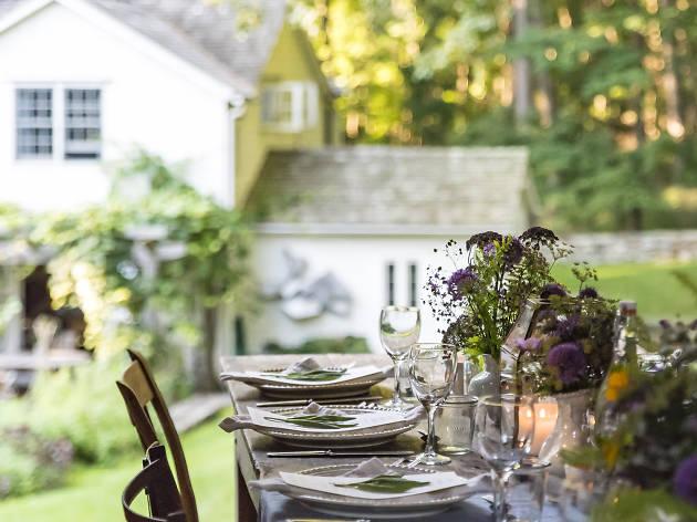 A dinner table at a farm