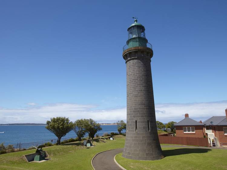 A black lighthouse on the Bellarine Peninsula