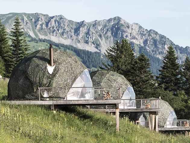 Whitepod eco-luxury hotel, for Swiss staycation campaign.