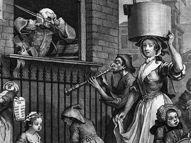 William Hogarth (1697-1764), The Enraged Musician (detail), 1741