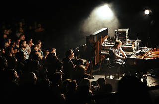 Crowd watches Nils Frahm perform.
