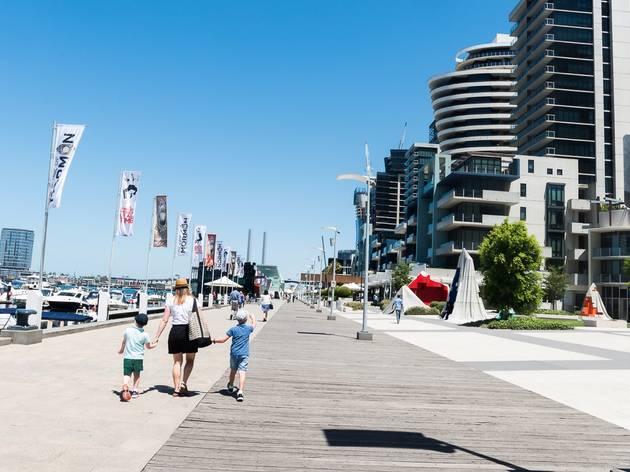 People walking around Docklands