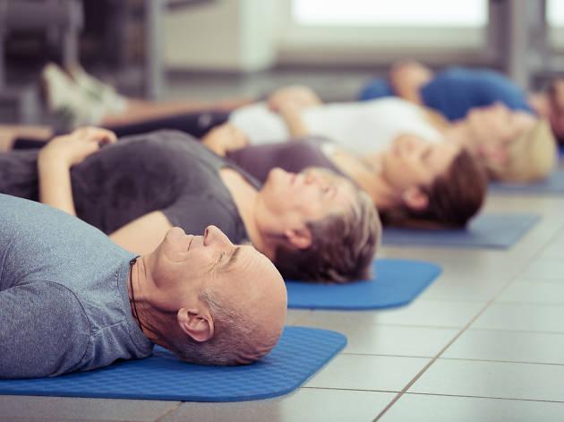 older man yoga