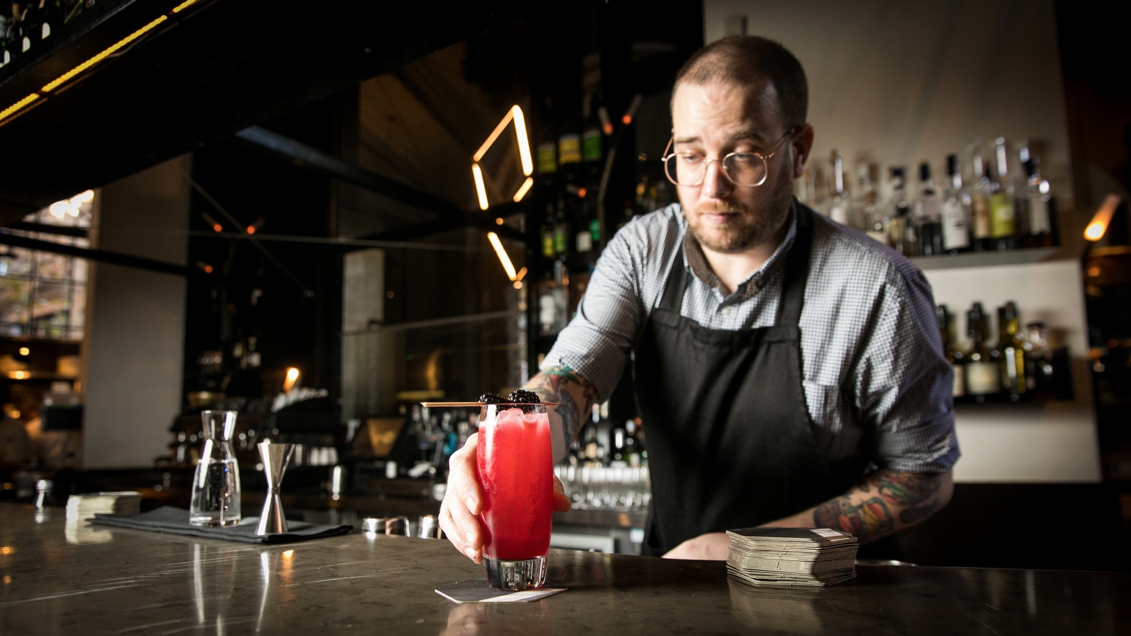 Making cocktails  at Bentley Bar and Restaurant