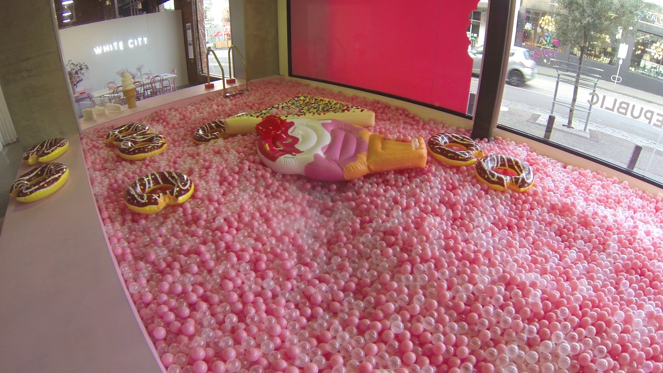 Pool of pink balls at Sugar Republic