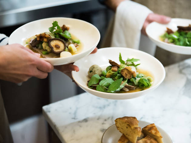 Dishes being served at restaurant